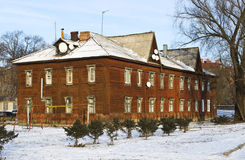 Old two-storey wooden house in Ryazan Stock Photography
