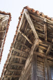 Old  two wooden eaves on close house , Bulgaria Stock Image