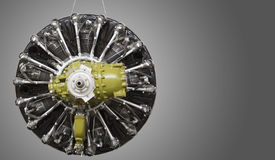 Old type aircraft engine on dark background Stock Images