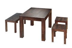 Old type three chairs  and table Stock Images