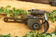 Old type tree cutting machine. Picture of an old wood cutting machine, operated by hand royalty free stock photo