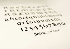 Old typeface, gothic texture stock image