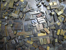 Old Typeset Letters. Old lead letters used for typeset printing Stock Image