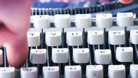 An old typewrite, detail of the keys, vintage writer concept stock video