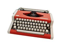 Old Typewriter. Isolated on White  (with clipping path Royalty Free Stock Photos