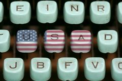 Old typewriter. Keys - 4th july Stock Photos