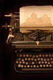 Old typewriter. Vintage typewriter with old sheet of paper Stock Photo