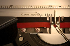 An old typewriter. Once upon a time typed on an old typewriter stock photography