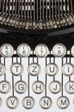 Old typewriter. Keyboard of an old, black typewriter Stock Photo