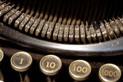 Old Typewriter. A closeup view of the letter blocks of an old typewriter royalty free stock photos