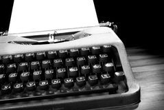 Old typewriter in black and white. A black and white image of an old typewriter stock images
