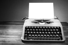 Old typewriter in black and white. A black and white image of an old typewriter. Space for text stock image