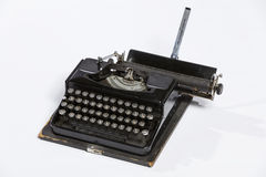 Old typewriter, blank sheet in a typewriter. Stock Image
