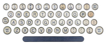 Old typewriter buttons. Isolated on white background Stock Photography