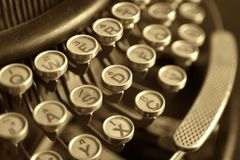 Old typewriter, close-up Stock Photos