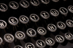Old typewriter, deadline text. Close up stock images
