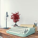 Old typewriter on a desk, concept of writing, journalism, creating a document, nostalgia. 3d rendering royalty free illustration
