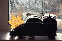 Old typewriter with dry  leaf Royalty Free Stock Photo