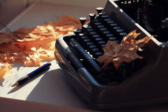 Old typewriter with dry  leaves Royalty Free Stock Image