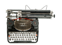 Old typewriter isolated on white background. Antique object. Top view Stock Photography