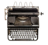Old typewriter isolated on white background. Antique object. Top view Stock Photos