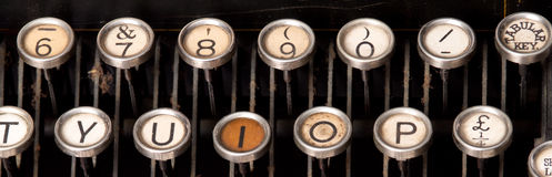 Old typewriter keys Royalty Free Stock Images