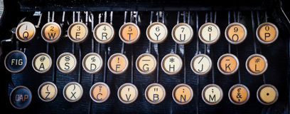 Old Typewriter keys. Faded color and rusted Royalty Free Stock Photo