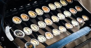 Old Typewriter keys. Detail of antique typewriter keys - faded color and rusted Royalty Free Stock Photography