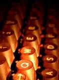 Old typewriter keys. Detail view of antique typewriter keys Royalty Free Stock Photos