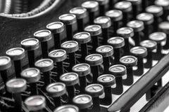 Old typewriter keys. Black and white close-up view of an old typewriter keys Royalty Free Stock Photography