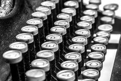 Old typewriter keys. Black and white close-up view of an old typewriter keys Stock Images