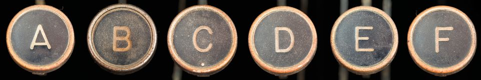 Old Typewriter Keys A-F Stock Photos