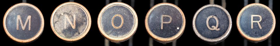 Old Typewriter Keys M-R Royalty Free Stock Photography