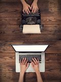 Old typewriter with laptop, concept of old and new Stock Image