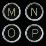 Old typewriter M N O P keys Stock Photos