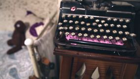 Old typewriter in the old room, retro interior, old style. Old typewriter in the old room, retro interior stock footage