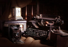 Old typewriter, retro camera and radio receiver Royalty Free Stock Photos