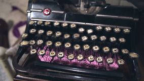 Old typewriter in the old room, retro interior, old style. Old typewriter in the old room, retro interior stock video