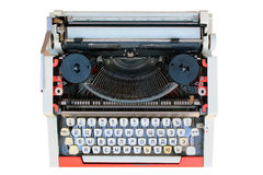 Old typewriter with russian keyboard, isolated on white.  stock images