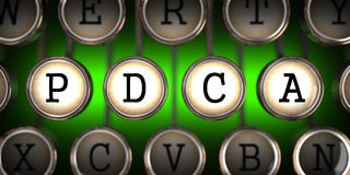 Old Typewriter's Keys with PDCA Slogan. Stock Photos