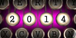 Old Typewriter's Keys with 2014 Year Slogan. Stock Image