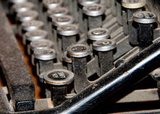 Old Typewriter shift key detail covered by dust Royalty Free Stock Image