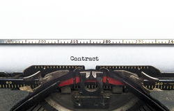 Contract Typewriter stock photography
