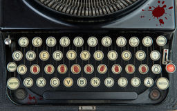 Old typewriter with terrorism. And blod Stock Photo