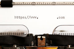 Old typewriter with text http Stock Image