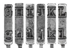Old Typewriter Typebar Letters G to L Isolated on  Stock Images