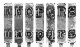 Old Typewriter Typebar Letters M to S Isolated on  Royalty Free Stock Photos