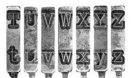 Old Typewriter Typebar Letters T to Z Isolated on White Stock Photos