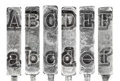 Old Typewriter Typebar Letters A to F Isolated on  Stock Photo