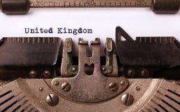Old typewriter - United Kingdom. Inscription made by vintage typewriter, country, United Kingdom Royalty Free Stock Photography